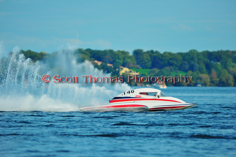 2.5 Liter Stock hydroplanes at the HydroBowl on Seneca Lake Inboard Hydroplane Racing in Geneva, New York.