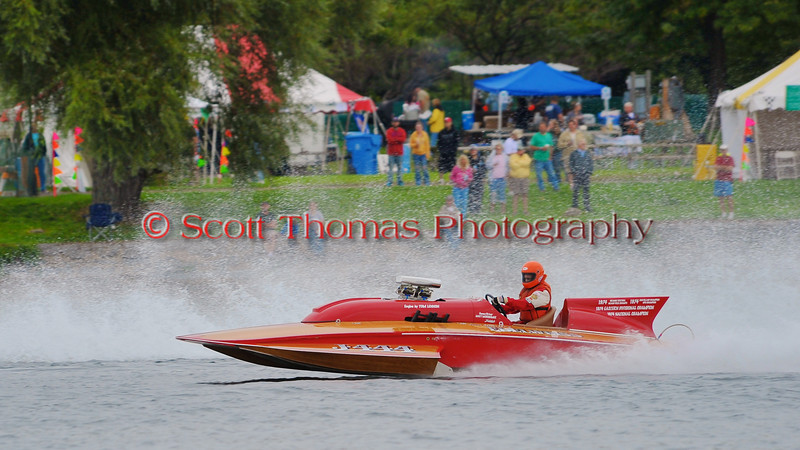 Vintage racing boat J-444 Big John's Edelweiss doing fly-bys at the HydroBowl on Seneca Lake  in Geneva, New York.