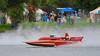 Vintage racing boat J-444 Big John's Edelweiss doing fly-bys at the HydroBowl on Seneca Lake  in Geneva, New York.