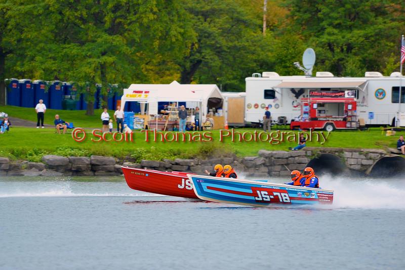 Jersey Speed Skiffs doing fly-bys at the HydroBowl on Seneca Lake in Geneva, New York.