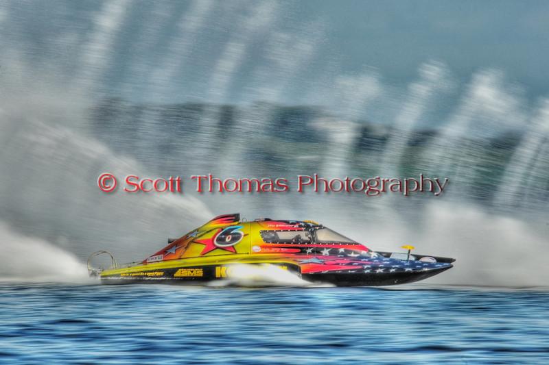 2.5 Liter Stock hydroplane Grafx  (CS-6) racing at the HydroBowl on Seneca Lake in Geneva, New York.