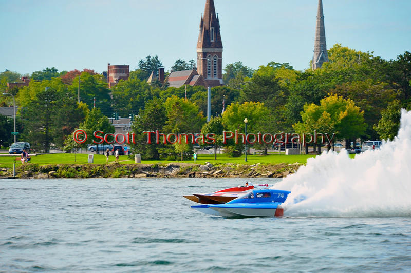 Grand National Hydro (GNH) hydroplanes racing at the  HydroBowl on Seneca Lake in Geneva, New York.