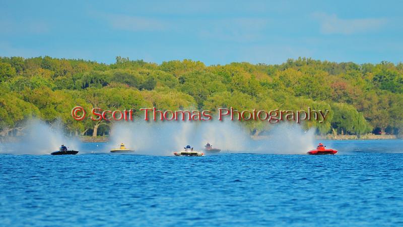 2.5 Liter Stock hydroplanes at the HydroBowl on Seneca Lake Inboard Hydroplane Racing in Geneva, New York.