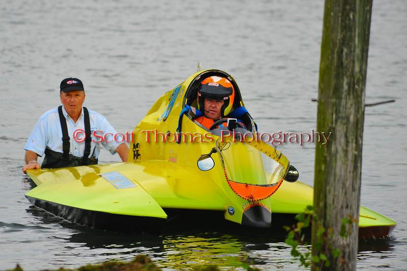 Inboard Hydroplane racers wating in the water at HydroBowl on Seneca Lake in Geneva, New York.