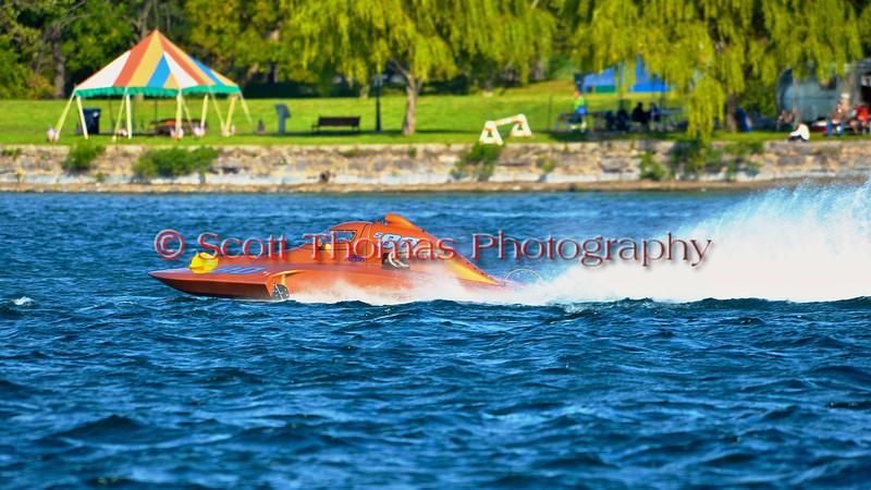 2.5 Liter Stock Inboard Hydroplanes racing at HydroBowl on Seneca Lake in Geneva, New York.