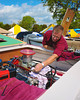 Driver of the JS-99 Veri Cherri Too, Davey Greenlaw, preparing the Jersey Speed Skiff for racing at the HydroBowl on Seneca Lake in Geneva, New York.