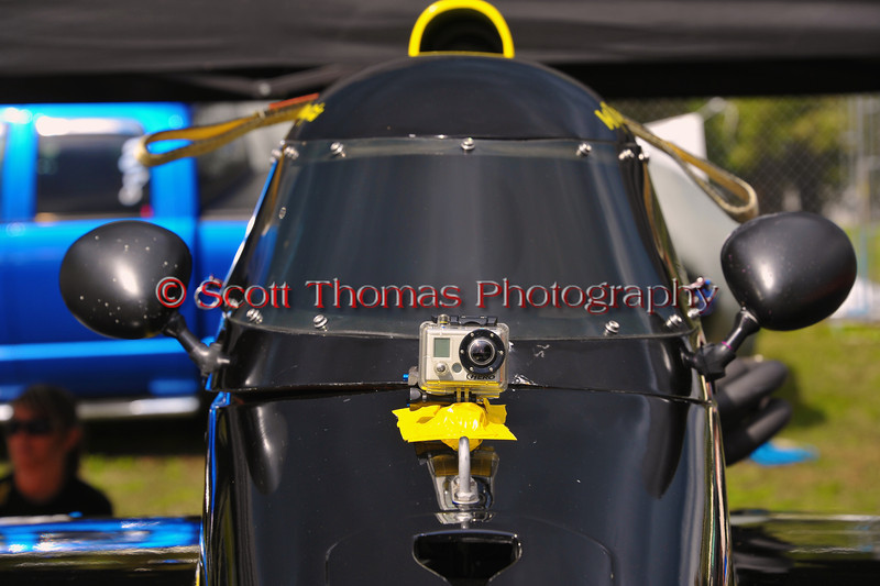 GoPro camera on an Inboard Hydroplane in the pits at the HydroBowl on Seneca Lake in Geneva, New York.