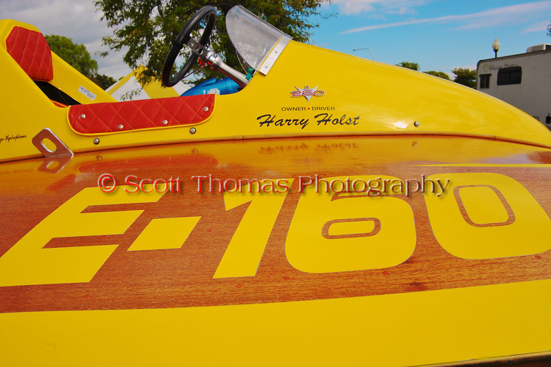 Vintage Inboard Hydroplane in the pits at the HydroBowl on Seneca Lake in Geneva, New York.