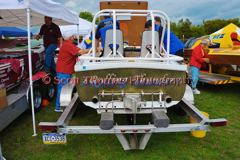 JS-7 Rolling Thunder Jersey Speed Skiff being worked on in the pits at the HydroBowl on Seneca Lake in Geneva, New York.