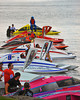 Inboard Hydroplane racers wating in the water at HydroBowl on Seneca Lake in Geneva, New York.