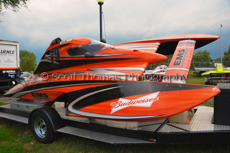 2.5 Liter Stock CS-79 Bad Influence Inboard Hydroplane sitting in the pits at the HydroBowl on Seneca Lake in Geneva, New York.