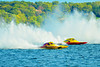 2.5 Liter Modified Geezerboat  (A-23) driven by Joe Sovie racing the National Modified All Jacked Up (NM-32) driven by Keith McKnight at the  HydroBowl on Seneca Lake in Geneva, New York.