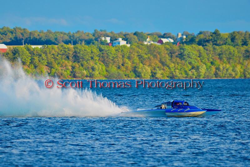 Grand National Hydro (GNH) Inboard Hydroplanes racing at HydroBowl on Seneca Lake in Geneva, New York.