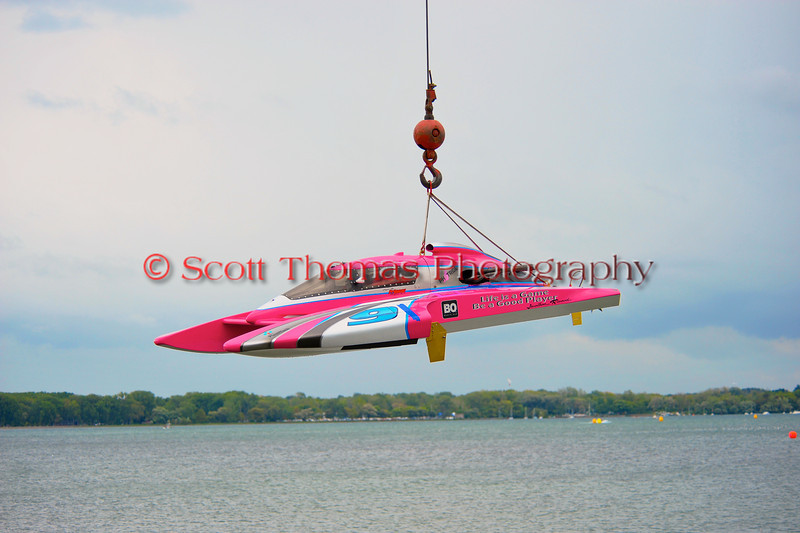 Hoisting Inboard Hydroplane boats into the water at HydroBowl on Seneca Lake in Geneva, New York.