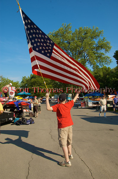Capturing the American flag from the JPW Companies crane at the 2010 Syracuse Hydrofest held at Onondaga Lake Park near Liverpool, New York on Saturday, June 19.