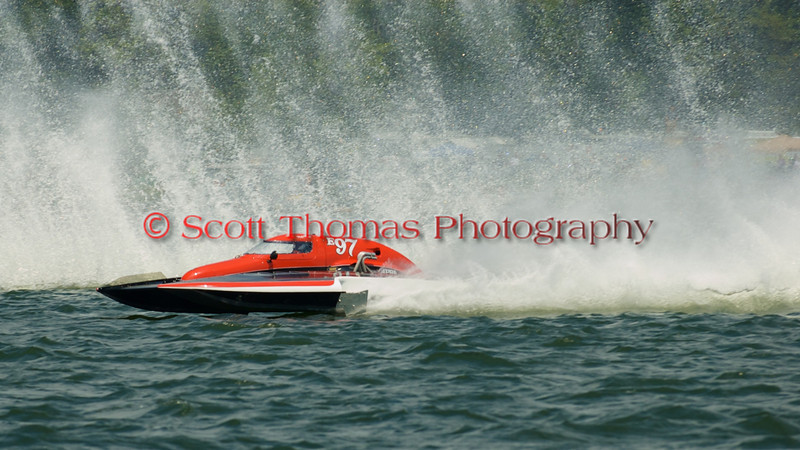 Team Extreme (E-97) 5.0 Liter Stock hydroplane driven by Todd Liddycoat on the race course at the 2010 Syracuse Hydrofest held at Onondaga Lake Park near Liverpool, New York on Saturday, June 19.