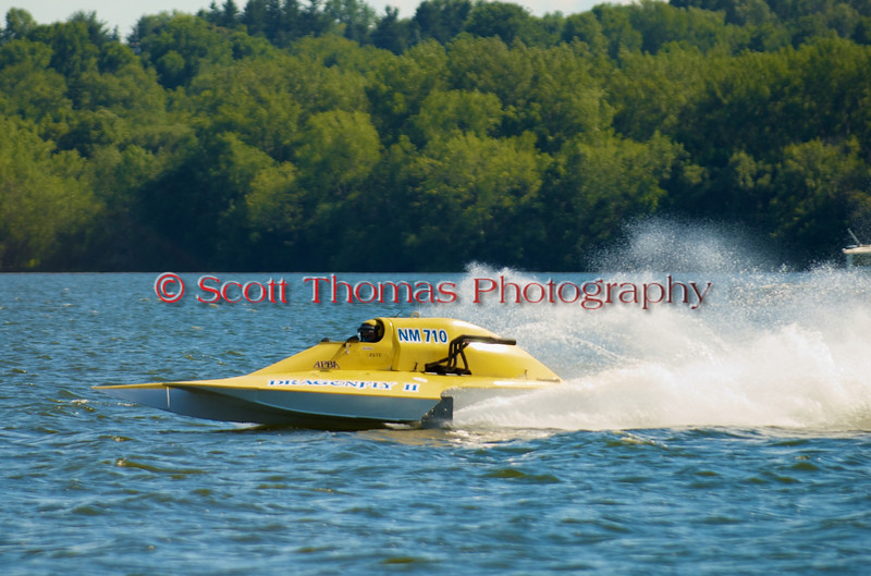 National Modified hydroplane Dragonfly II (NM-710) driven by John Krebs racing at the 2010 Syracuse Hydrofest held at Onondaga Lake Park near Liverpool, New York on Sunday, June 20.