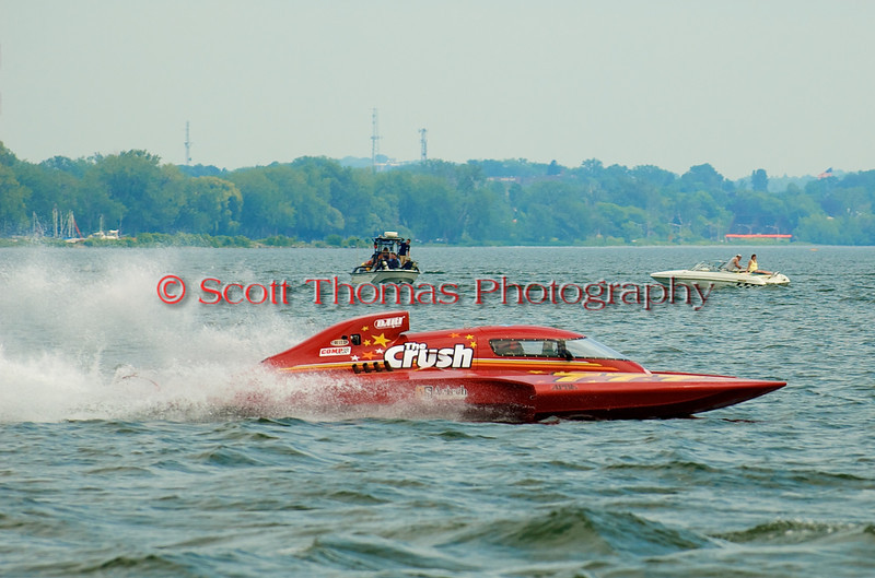 Grand Prix  hydroplane The Crush (GP-777) driven by nnnnnnnnnnnn on the course at the 2010 Syracuse Hydrofest  held at Onondaga Lake Park near Liverpool, New York on Saturday, June 19.