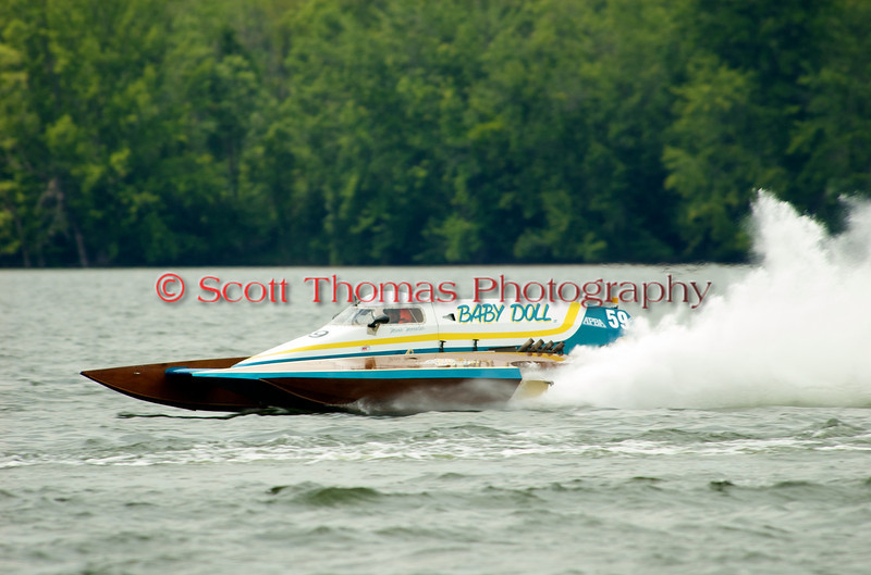 Grand Prix hydroplane  Baby Doll (GP-59) driven by Mario Maraldo on the course at the 2010 Syracuse Hydrofest held at Onondaga Lake Park near Liverpool, New York on Sunday, June 20.