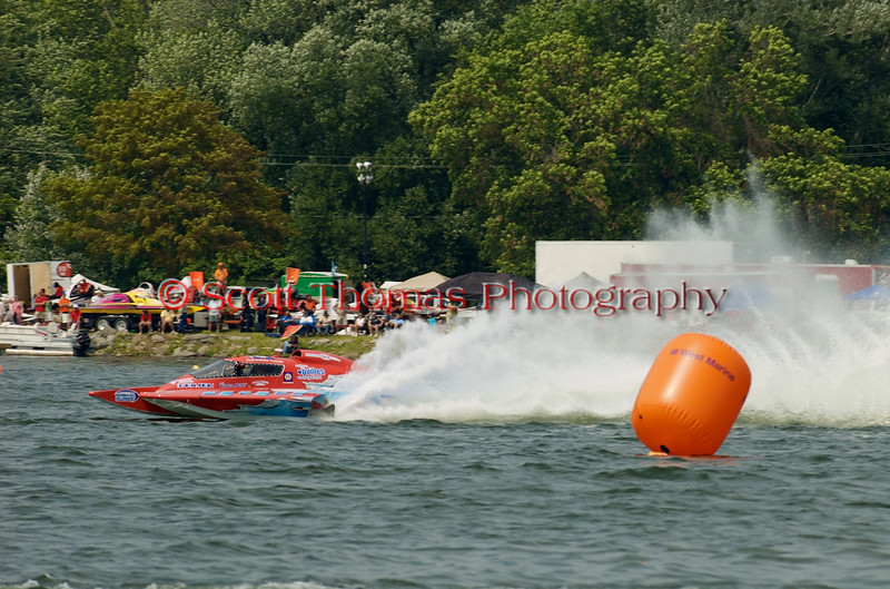 Grand Prix  hydroplane Valleyfield (GP-444) driven by Marc Theoret on the course at the 2010 Syracuse Hydrofest  held at Onondaga Lake Park near Liverpool, New York on Saturday, June 19.