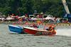 Jersey Skiffs JS-100 (orange) and JS-9 on the course at the 2010 Syracuse Hydrofest  held at Onondaga Lake Park near Liverpool, New York on Saturday, June 19.