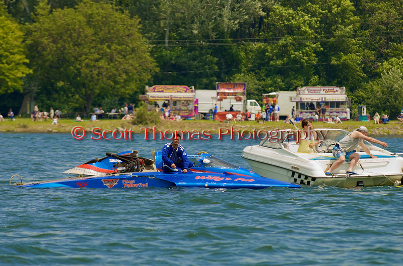 5.0 Liter Stock hydroplane Primeau Performance (CE-104) driven by Marc Lecompte getting a tow back to the pits at the 2010 Syracuse Hydrofest  held at Onondaga Lake Park near Liverpool, New York on Saturday, June 19.