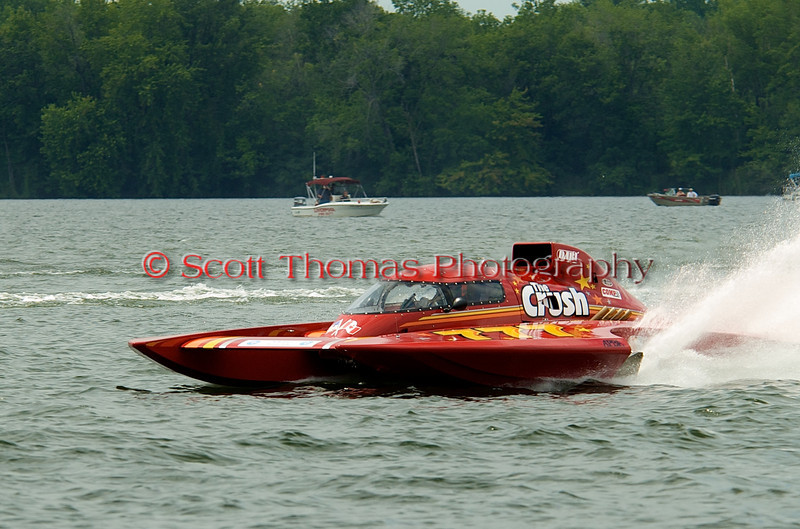 Grand Prix hydroplane  The Crush (GP-777) driven by Jeff Richards on the course at the 2010 Syracuse Hydrofest held at Onondaga Lake Park near Liverpool, New York on Sunday, June 20.