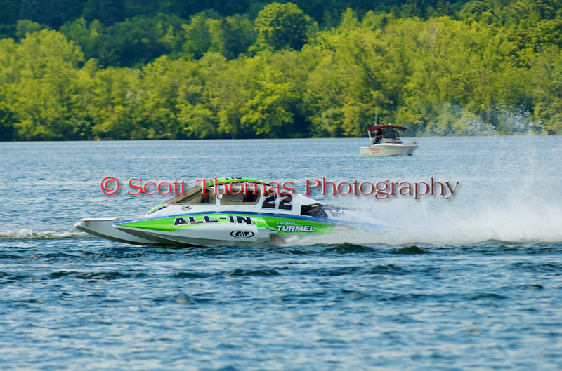 2.5 Liter hydroplane All-In (S-22) driven by Dominic Billette racing at the 2010  Syracuse Hydrofest held at Onondaga Lake Park near Liverpool, New York on Sunday, June 20.