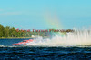 Grand Prix hydroplane Valleyfield (GP-444) creates a rainbow with its roostertail in late afternoon racing at the 2010 Syracuse Hydrofest held at Onondaga Lake Park near Liverpool, New York on Sunday, June 20.
