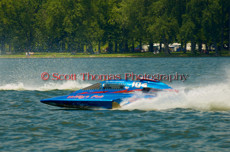 5.0 Liter Stock hydroplane Primeau Performance (CE-104) driven by Marc Lecompte on the course at the 2010 Syracuse Hydrofest  held at Onondaga Lake Park near Liverpool, New York on Saturday, June 19.
