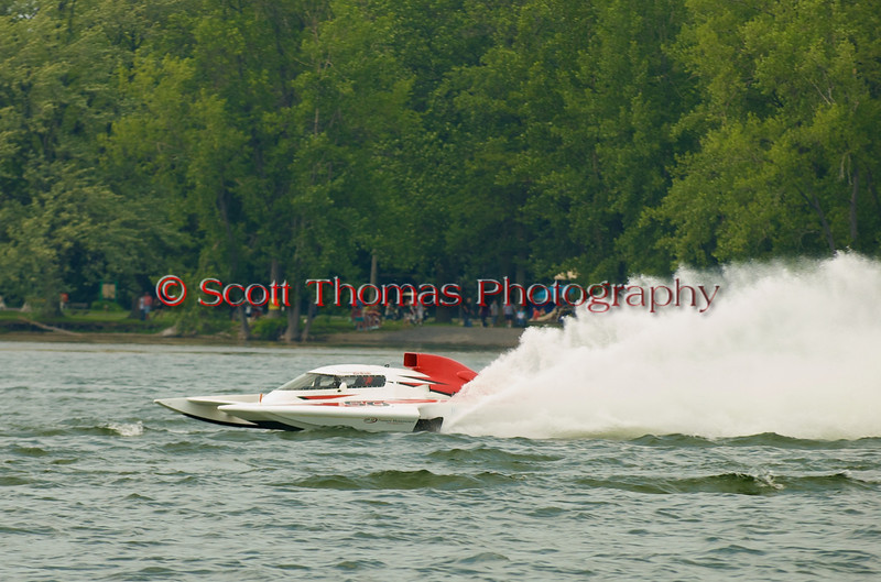 Grand Prix  hydroplane Brodie Motorsports (GP-50) driven by Kenneth W Brodie II on the course at the 2010 Syracuse Hydrofest  held at Onondaga Lake Park near Liverpool, New York on Saturday, June 19.