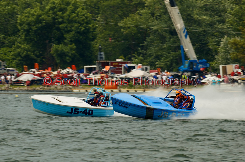 Jersey Skiffs JS-40 and JS-9 on the course at the 2010 Syracuse Hydrofest  held at Onondaga Lake Park near Liverpool, New York on Saturday, June 19.