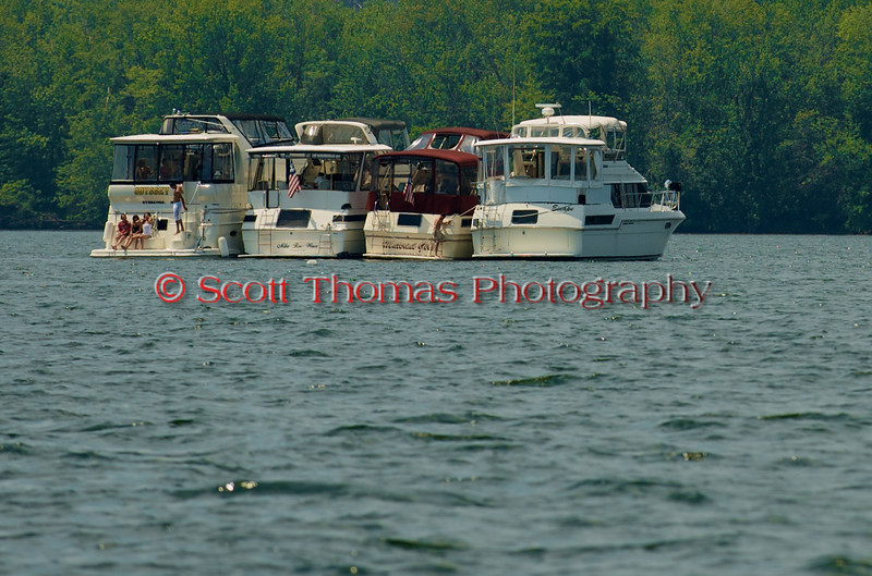 Cruisers anchored on Onondaga Lake to watch the 2010 Syracuse Hydrofest races held at Onondaga Lake Park near Liverpool, New York on Saturday, June 19.