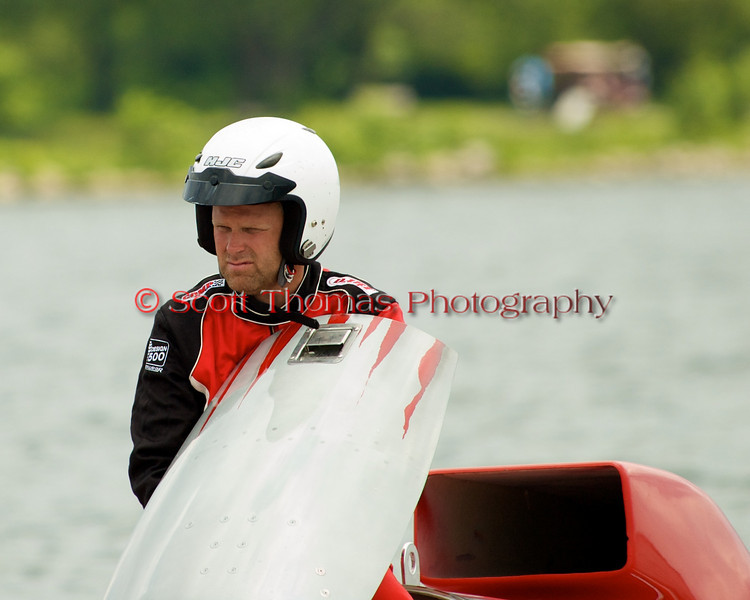 Grand Prix hydroplane Crush 2 (GP-77) driven by Bert Henderson waits to be towed back to the ptis at the 2010 Syracuse Hydrofest held at Onondaga Lake Park near Liverpool, New York on Sunday, June 20.