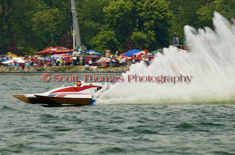 Grand National Hydro  hydroplane nnnnnnnn (GNH-8) driven by nnnnnnnnnnnn on the course at the 2010 Syracuse Hydrofest  held at Onondaga Lake Park near Liverpool, New York on Saturday, June 19.