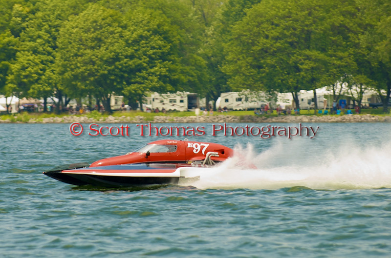 5.0 Liter Stock hydroplane Team Extreme (E-97) driven by Todd Liddycoat on the course at the 2010 Syracuse Hydrofest  held at Onondaga Lake Park near Liverpool, New York on Saturday, June 19.