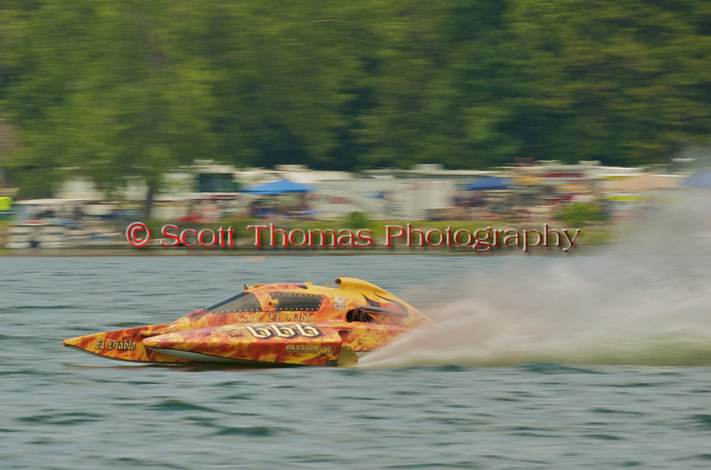 CE-666, El Diablo, 5.0L Stock Hydroplane driven by Ghislain Marcoux during the 2010 Syracuse Hydrofest event held at Onondaga Lake Park near Liverpool, New York on Saturday, June 19.
