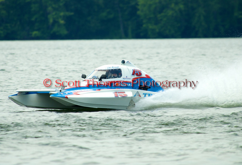 1.5 Liter hydroplane CT-15 driven by Patrick Morneault racing at the 2010 Syracuse Hydrofest held at Onondaga Lake Park near Liverpool, New York on Sunday, June 20.