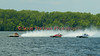 2.5 Liter hydroplanes Bank On It (far left, CS-00), Wet Spot (middle, CS-10) and Rewinder (S-9) race down the backstretch at the 2010 Syracuse Hydrofest held at Onondaga Lake Park near Liverpool, New York on Sunday, June 20.