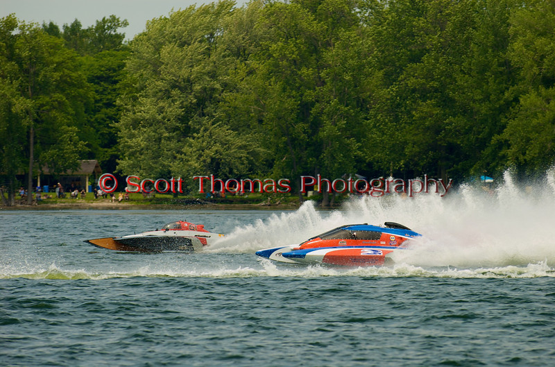 5.0 Liter Stock hydroplane Crazy Cajun (E-61) and CE-2 racing at the 2010 Syracuse Hydrofest  held at Onondaga Lake Park near Liverpool, New York on Saturday, June 19.
