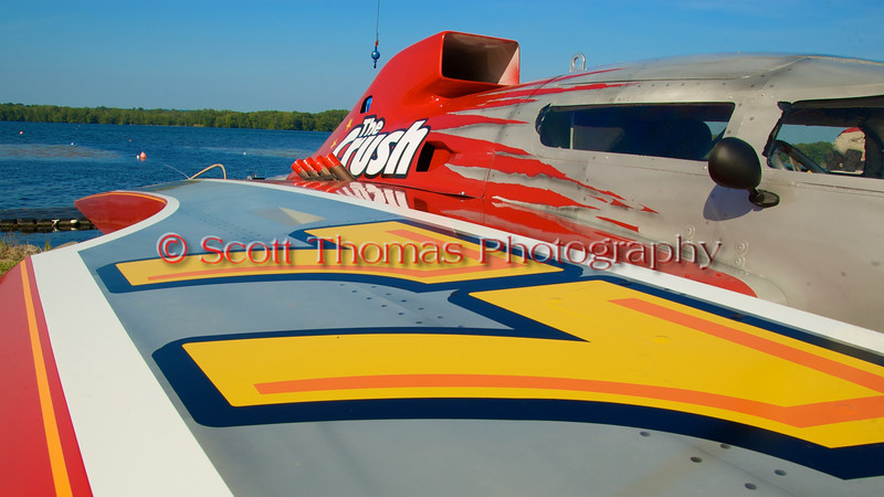 Grand Prix hydroplane The Crush (GP-77) out of Brockport, Ontario, Canada sitting in the pits next to Onondaga Lake at the 2010 Syracuse Hydrofest held at Onondaga Lake Park near Liverpool, New York on Saturday, June 19.