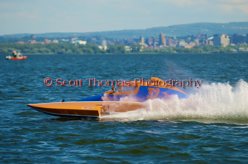 1.0 Liter Modified hydroplane  Roostertails (Y-52) driven by Sean Bowsher racing at the 2010 Syracuse Hydrofest held at Onondaga Lake Park near Liverpool, New York on Sunday, June 20.