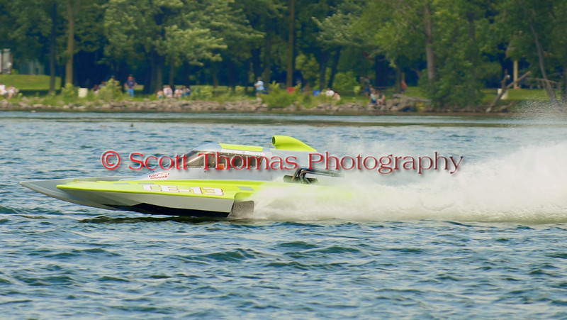 5.0 Liter Stock hydroplane Adrenaline Rush (CE-13) driven by Derec Smith on the course at the 2010 Syracuse Hydrofest  held at Onondaga Lake Park near Liverpool, New York on Saturday, June 19.