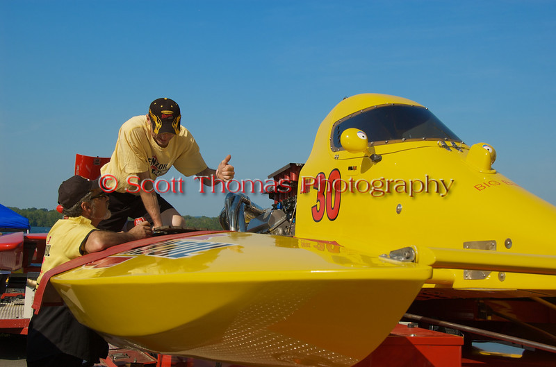 Pit crew members for the National Modified Big Bird (NM-30) hydroplane at the <br /> Syracuse Hydrofest 2010 held at Onondaga Lake Park near Liverpool, New York on Saturday, June 19.