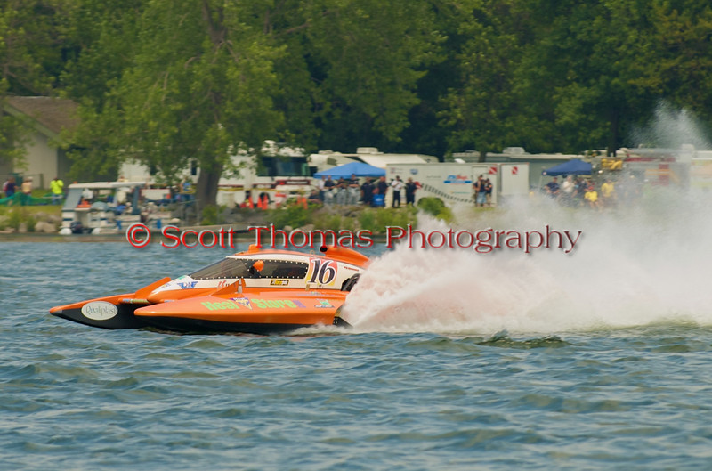 5.0 Liter Stock hydroplane Haute Tension (CE-16) driven by Samuel Pagé-Morin on the course at the 2010 Syracuse Hydrofest  held at Onondaga Lake Park near Liverpool, New York on Saturday, June 19.