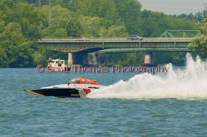5.0 Liter Stock hydroplane Crazy Cajun (E-61) on the course at the 2010 Syracuse Hydrofest  held at Onondaga Lake Park near Liverpool, New York on Saturday, June 19.