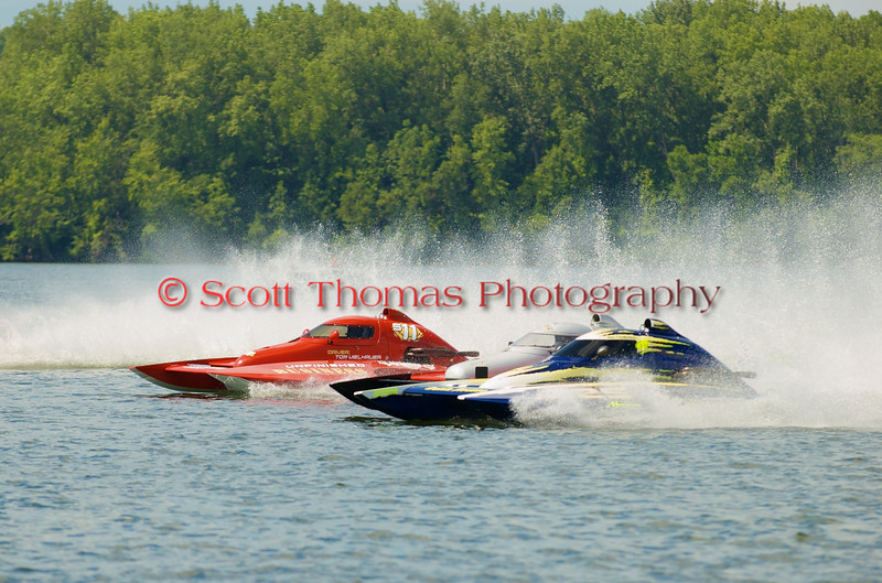 2.5 Liter hydroplanes lining up before their race at the 2010  Syracuse Hydrofest  held at Onondaga Lake Park near Liverpool, New York on Sunday, June 20.
