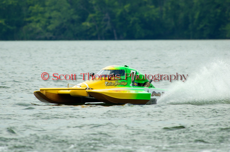 1.5 Liter hydroplane Sortilège racing (CT-7) driven by Mathieu Lemelin racing at the 2010 Syracuse Hydrofest held at Onondaga Lake Park near Liverpool, New York on Sunday, June 20.