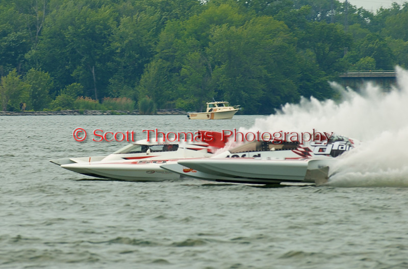 Grand Prix hydroplanes ADF Desiel (GP-46) ) and Brodie Motorsports (GP-50) race side by side at the 2010 Syracuse Hydrofest  held at Onondaga Lake Park near Liverpool, New York on Saturday, June 19.