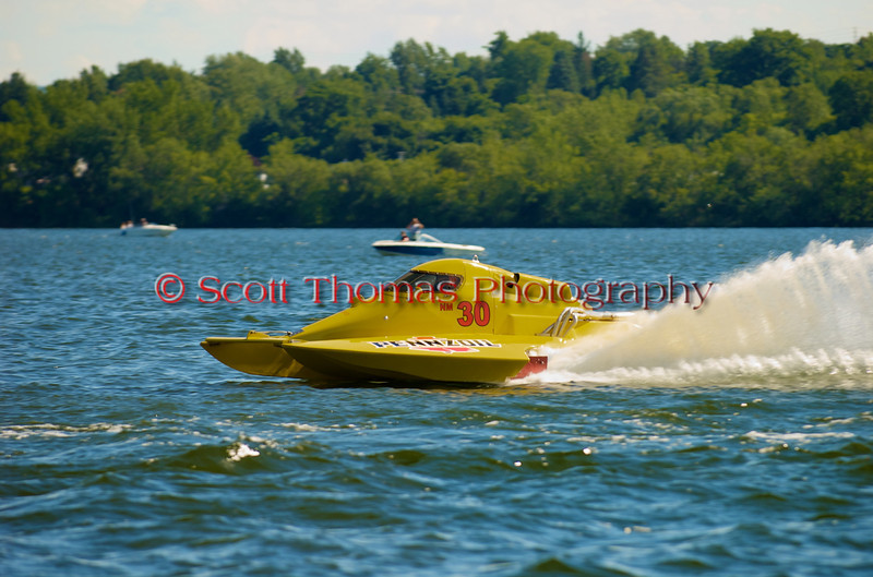National Modified hydroplane Big Bird by Pennzoil (NM-30) driven by Mark Johnson racing at the 2010 Syracuse Hydrofest held at Onondaga Lake Park near Liverpool, New York on Sunday, June 20.